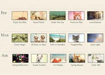 Bộ hình nền kèm lịch trọn bộ 12 tháng năm 2012