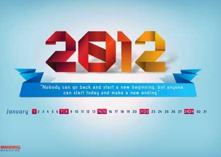 Bộ hình nền cực đáng yêu cho tháng đầu tiên của năm 2012 (có lịch và không lịch)