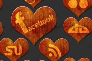 Bộ icon social networks hình trái tim bằng gỗ